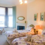 Front facing twin bedroom with lovely sea veiws